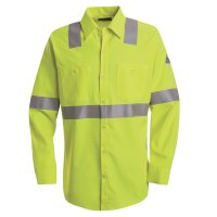 Bulwark SMW4 Hi Vis Flame-Resistant Work Shirt-Long Sleeve