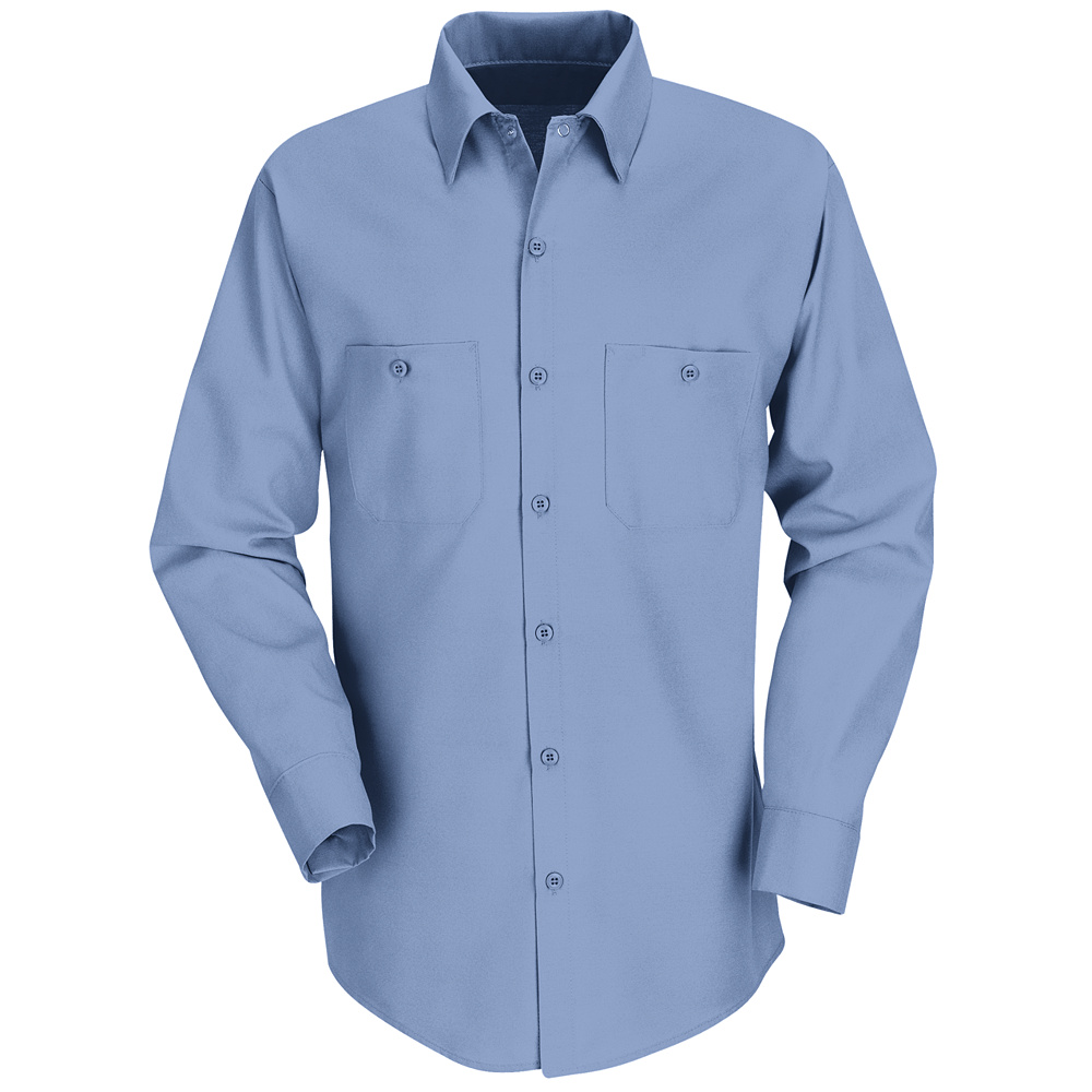 Discount red kap industrial long sleeved work shirt sp14 for Blue cotton work shirts