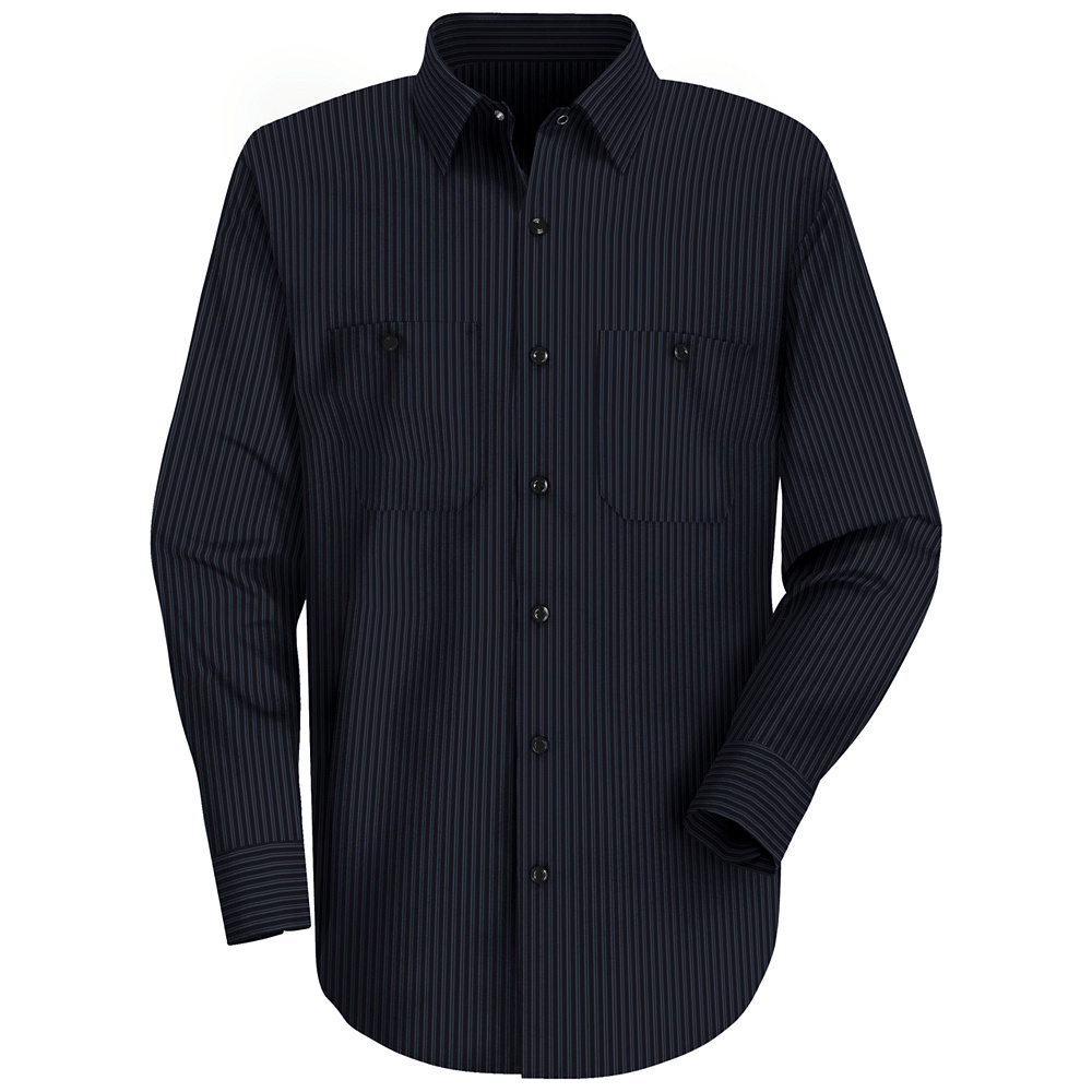 Industrial striped long sleeved work shirt sp14 red kap for Navy blue striped long sleeve shirt