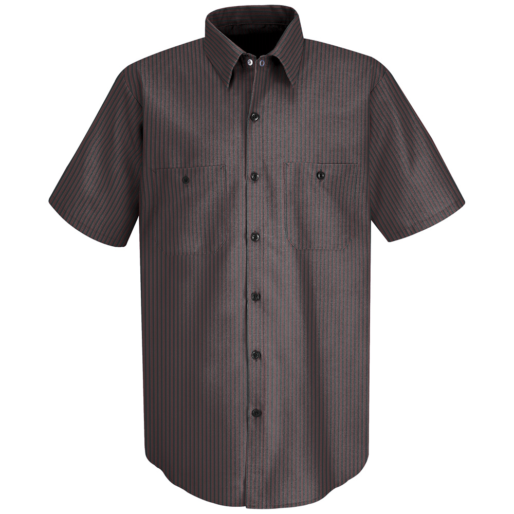 Red Kap Men 39 S Striped Short Sleeve Uniform Work Shirt Sp24