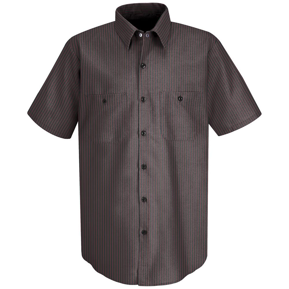 Red kap striped short sleeved work shirt sp24 red kap for Uniform shirts for men