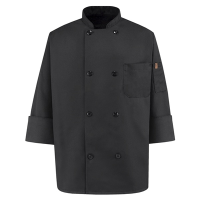Eight Pearl-Button Black Chef Coat - KT76