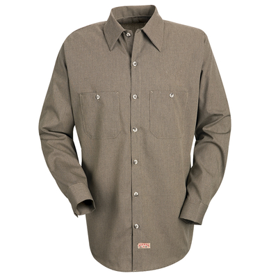 Industrial Striped Long Sleeved Microcheck Work Shirt - SP14